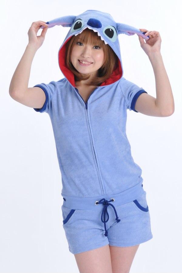 Дизайнер Kawaii Аниме Минни для женщин обувь для девочек Летний Комбинезон Onesie с ушками капюшон женский короткий рукав косплэй пижамы Топ+ шорт - Цвет: stitch
