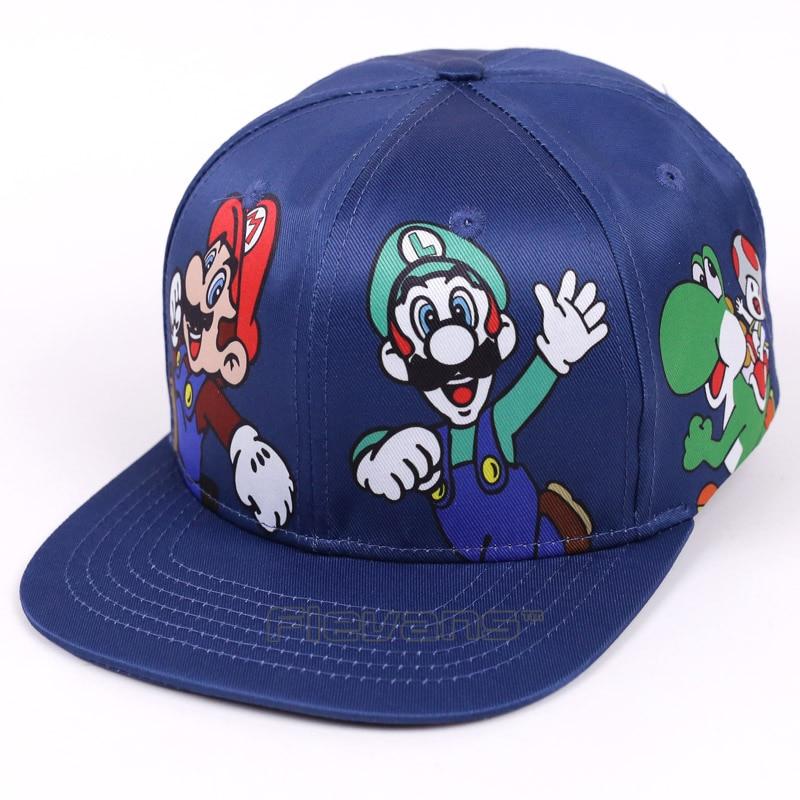 Super Mario Bros Mario Luigi Yoshi Snapback Baseball Hip Hop Caps Cartoon Casual Summer Sun Hats Couple Caps Women Men