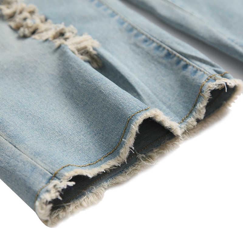 HMILY spodenki jeansowe moda mężczyźni lato cienka wysokiej jakości Retro otwór zgrywanie krótkie dżinsy klasyczne kolano długość dla mężczyzn duże rozmiar