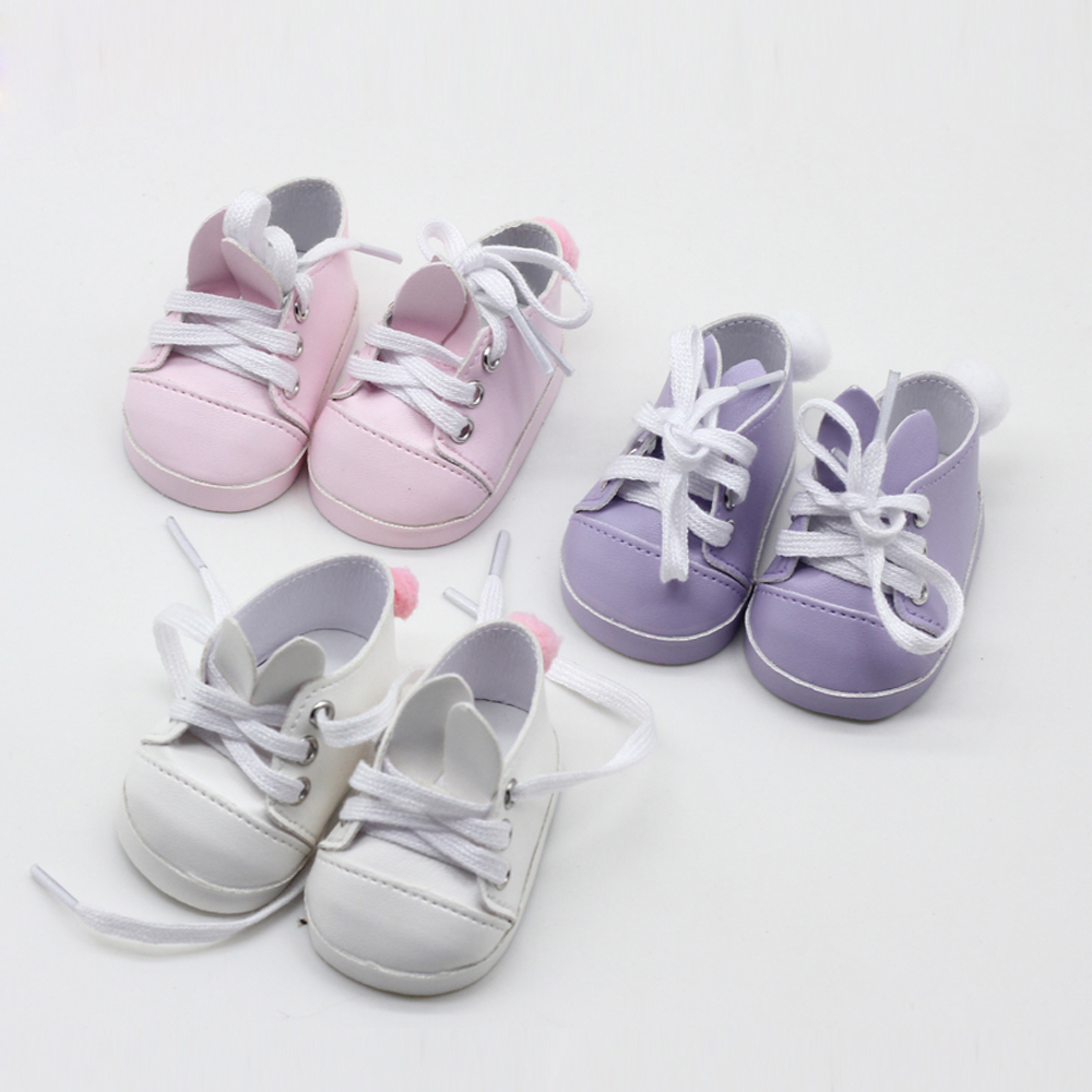 7cm Mini Doll Shoes For 43cm New Born Dolls Accessories And 18inch Girls Doll Rabbit Ear White Baby Shoes Toys