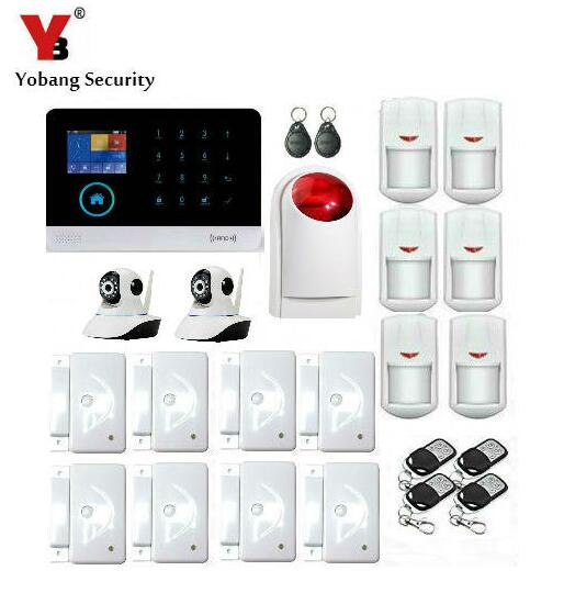 YoBang Security WIFI 3G GPRS Home Burglar Alarm System Android IOS APP Controls RFID Card Wireless IP Camera Smoke Fire Detector