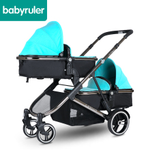 Babyruler B-Deux Luxury Twins Baby Stroller Foldable Single or Double Transforming Seat Aluminium Alloy Frame Multi-Mode Pram