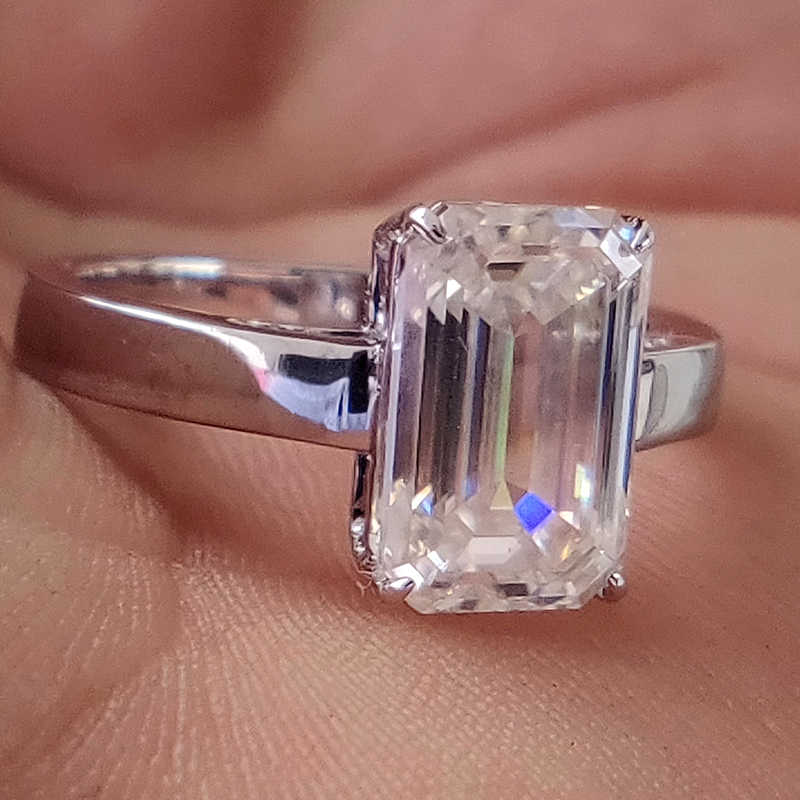 3 Carat Ct 7x11mm Df Grade Emerald Cut Engagement Wedding Moissanite Lab Diamond Ring In 18k Plated Sterling Silver Aliexpress