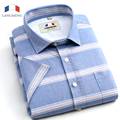 Langmeng Brand 100% Cotton summer Slim Fit Casual Shirts short Sleeve striped Social Men Dress Shirts Camisa chemise homme