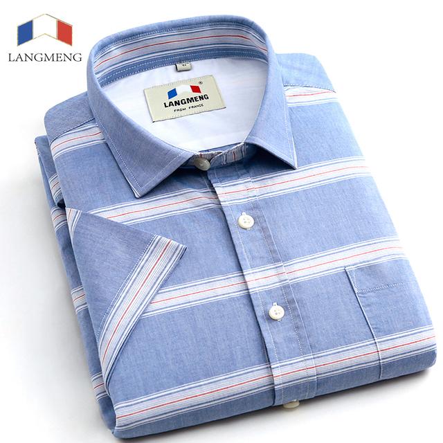 Langmeng Marca 100% Algodão verão Slim Fit Casuais Camisas de Manga curta listrada Homens Camisas de Vestido Camisa chemise Sociais homme