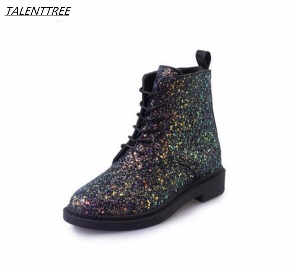 Autumn winter fashion Designers Brand Women Ankle Boots Heels Female Shoes  Woman Autumn Glitter Lace up 67fc2340a52d