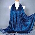 170*60 de Moda de Nova Plain Shimmer Glitter Inverno Mulsim Envoltório Lurex Viscose Xales Longos Lenços Hijab Muçulmano Cachecol 2400