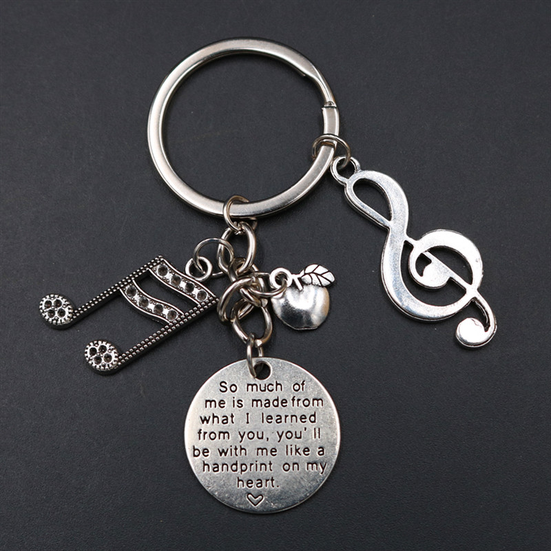 1pc You Will Be With Me Like A Handprint On My Heart Charm Musical Note & Apple DIY Metal Keychain - Tribute Music Teacher