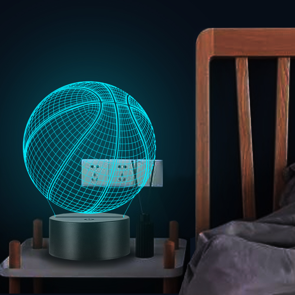 Sport Basketball 3D LED Lamp Night Light Bedroom Party Atmosphere Table Multicolor Boy Home Decorative Christmas Gift Battery