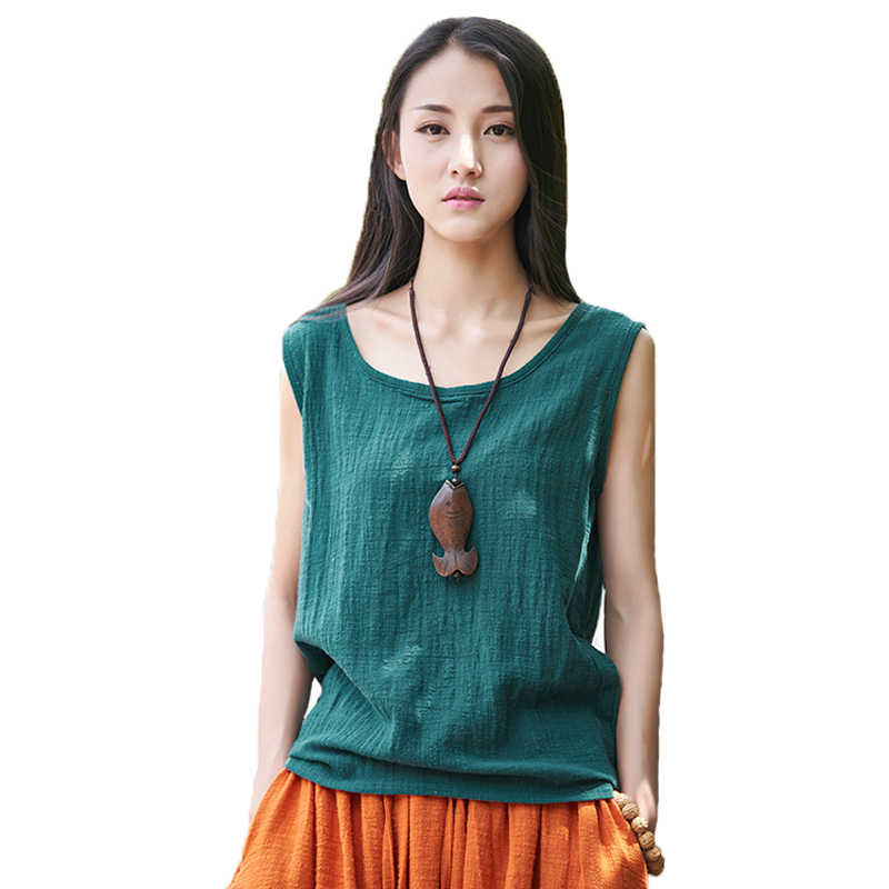 5f851a4fb3030a Johnature Women Tanks Sleeveless O-Neck 2019 Summer Shirt New 9 Color Solid  Casual Cotton