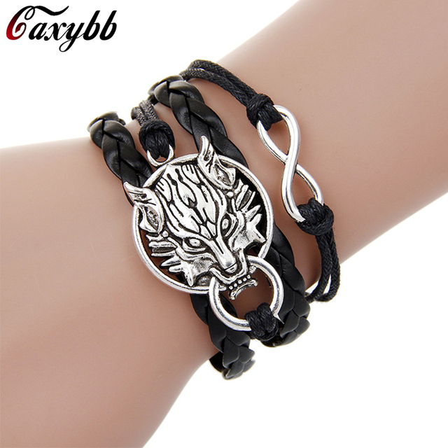 Por Infinity Bangles Bracelets Wolf Charm Black Weave Leather Bracelet Courage For Women Accessories Fine