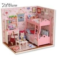 KiWarm Moderno Montaje De Juguetes De Madera Casa de Muñecas Con Muebles Regalos del Ornamento Del Arte de DIY Modelo Miniatura Kit Infantil