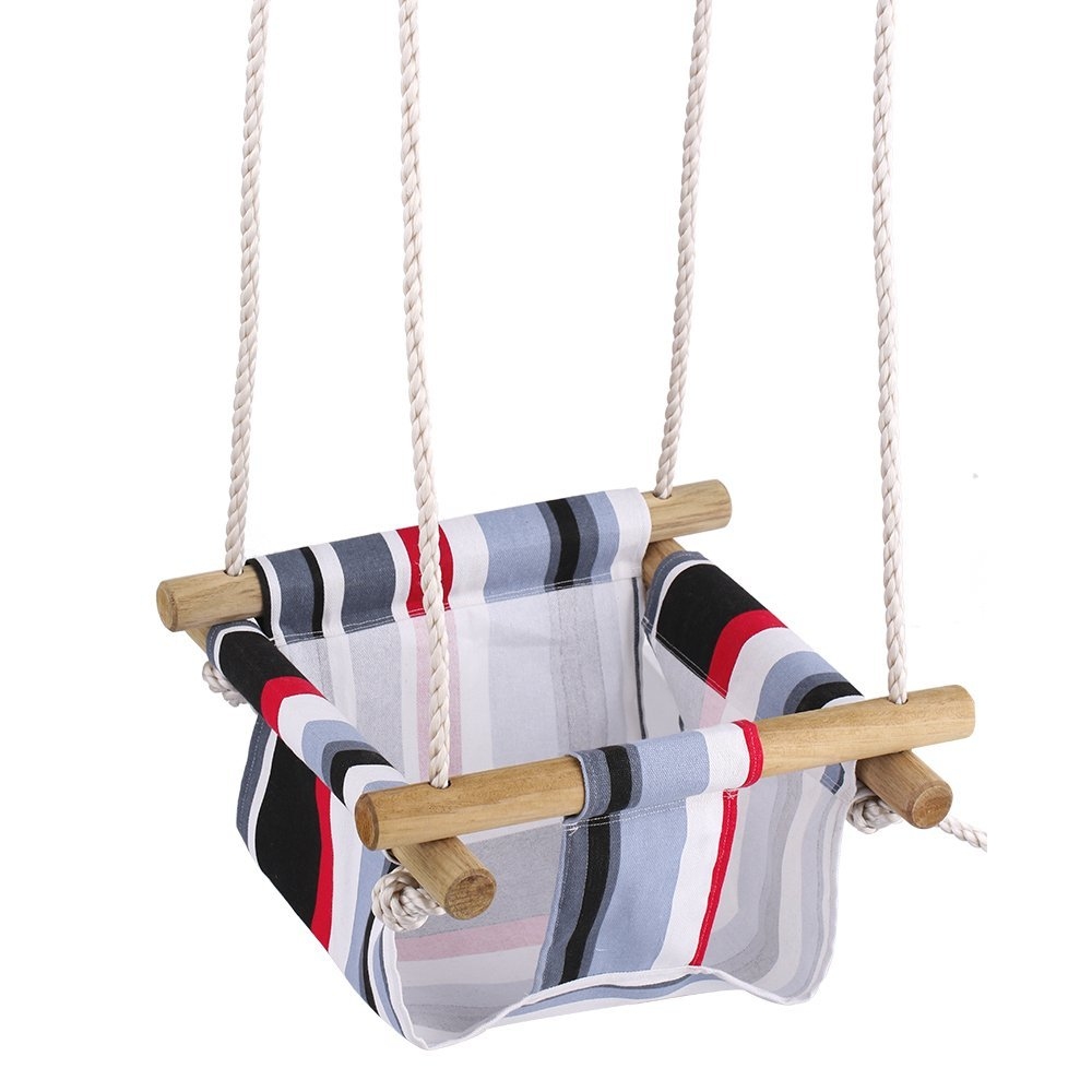 Infant to toddler secure hanging swing seat indoor and for Indoor swing seat