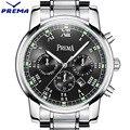 Original PREMA Business Men Watch Top Famous Brand Luxury Fashion Black Quartz Male Waterproof Clock Stainless Steel Wrist watch