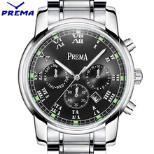 Original PREMA Business Men Watch Top Famous Brand Luxury Fashion Black Quartz Male Waterproof Clock Stainless Steel Wrist watch