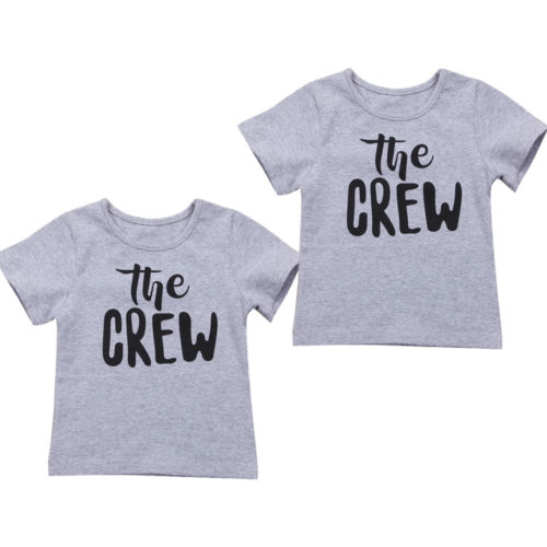 T-Shirt Tops Funny Baby-Boy-Girl Kids Cotton Child Letter Gray Outfits 1-6Y