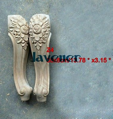 Z4 -35x8cm Wood Carved Onlay Applique Carpenter Decal Wood Working Carpenter Leg Decoration Flower