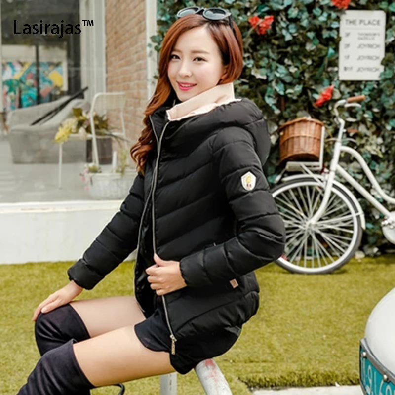 ФОТО 2016 New Fashion Brand Women's Winter Coats Solid Zipper Long Sleeve Thick Cotton Women Down Parkas Female Overcoat Jacket