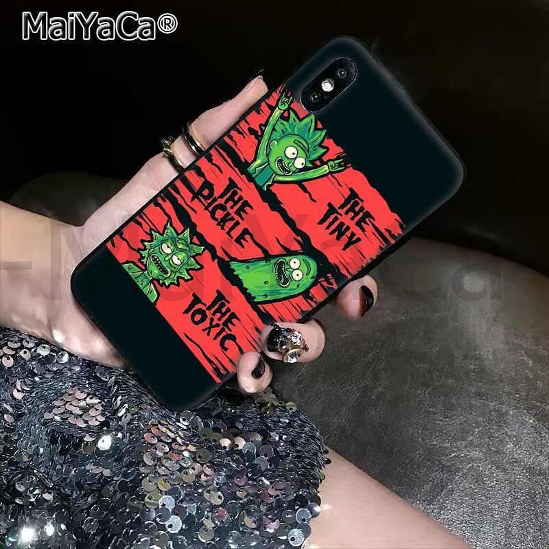 Maiyaca tpu macio silicone luxo telefone dos desenhos animados pickle rick e morty para apple iphone11 pro 7 8 66 s plus x xs max 55 s se xr