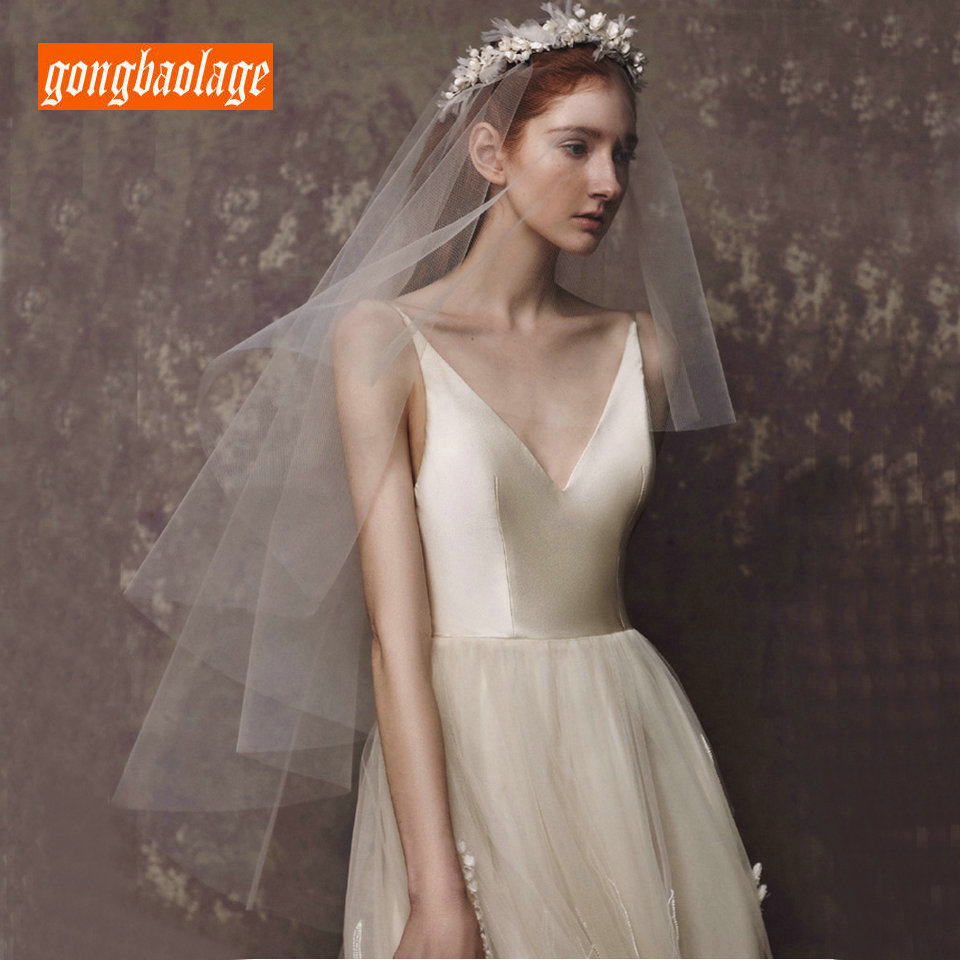 Charming White Bride Veil Tulle With Comb 2019 New 0.75M Soft Ivory Short  Elbow Length Veils Bridal Veiling Wedding Accessories