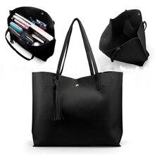 Женская модная повседневная Наплечная Сумка, Сумка с ручками, 7 цветов, Дамская вместительная сумочка с кисточками, кожаная женская большая сумка