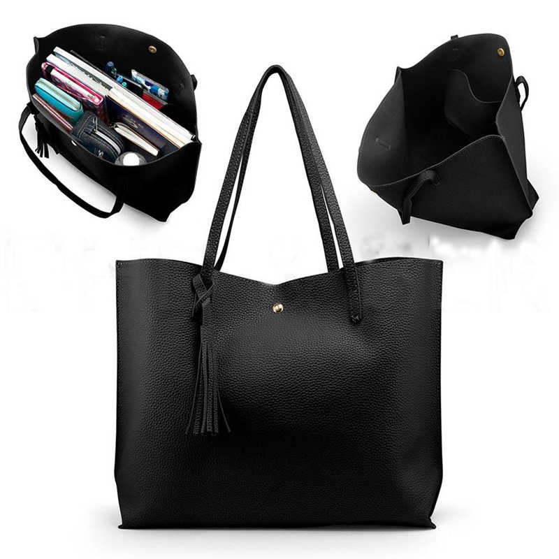 Women's Fashion Casual Shoulder Bag Handle Bag Bag 7 Colors Lady Big Capacity Purse Tassel Leather Female Big Tote