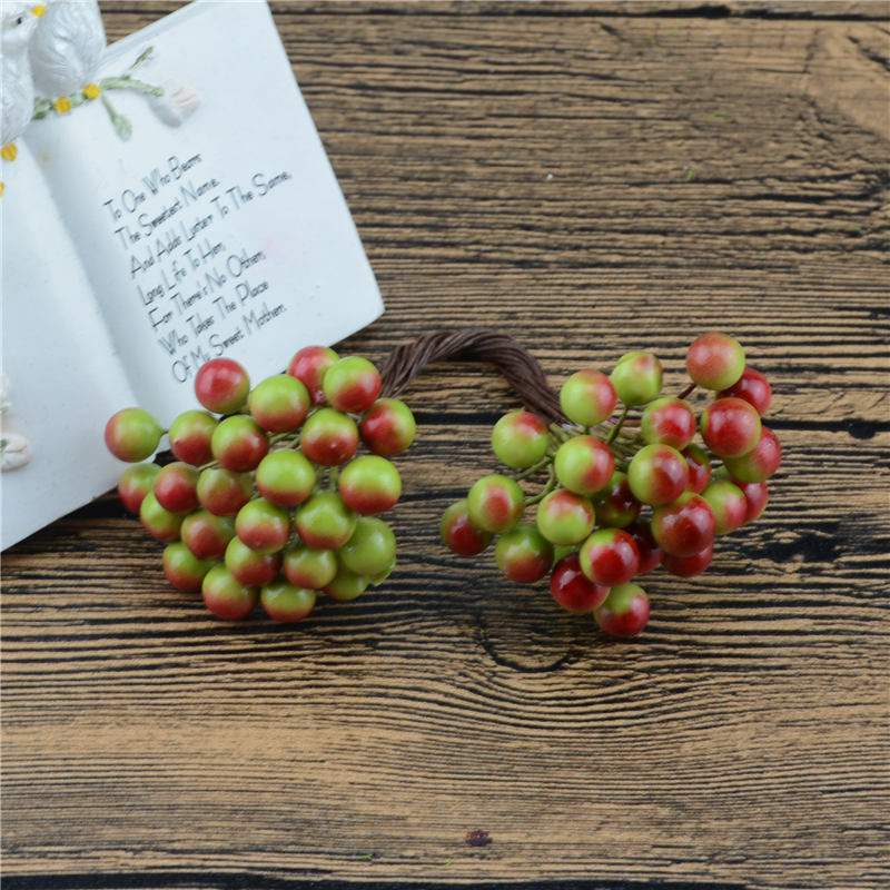 25Pcs 50heads 0.6cm Berry Bacca Artificial Flower For Wedding Decoration DIY Scrapbooking Decorative Wreath Fake Flowers