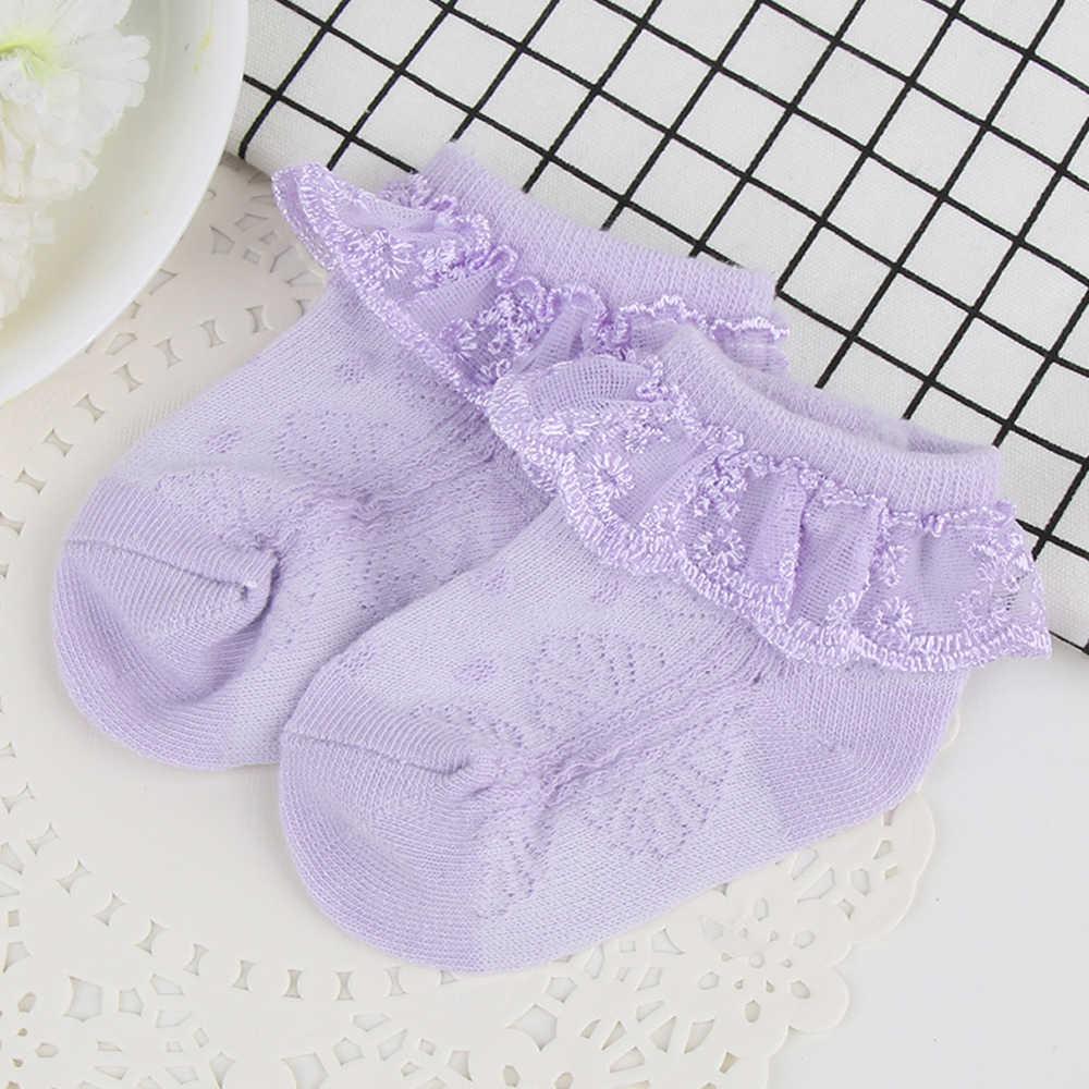 Encaje Ruffle Frilly calcetines cortos de tobillo para recién nacidos bebé niñas algodón calcetín lindo niño calcetines princesa estilo bebé Calcetines