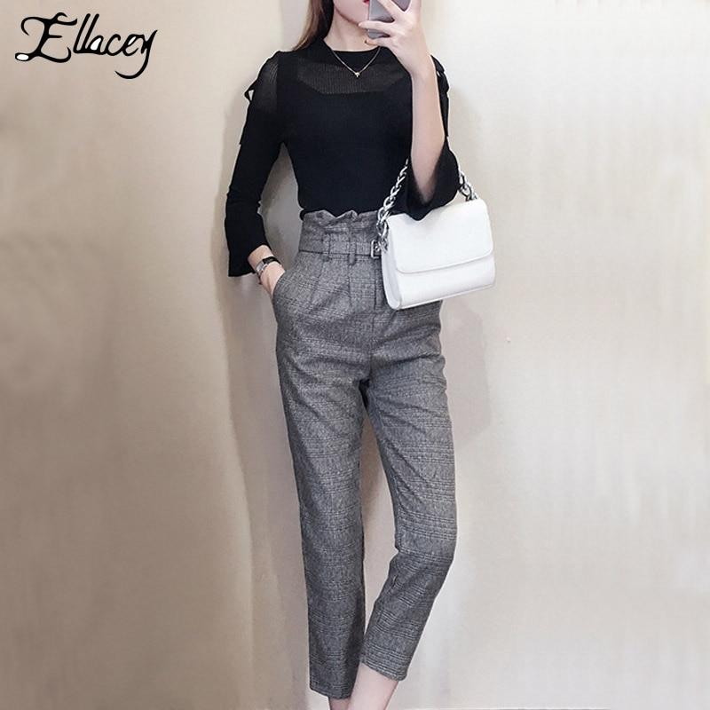 Ellacey 2019 printemps tricoté pull pantalon costume femme douce mode Flare manches deux pièces ensemble volants ceintures pantalons costumes