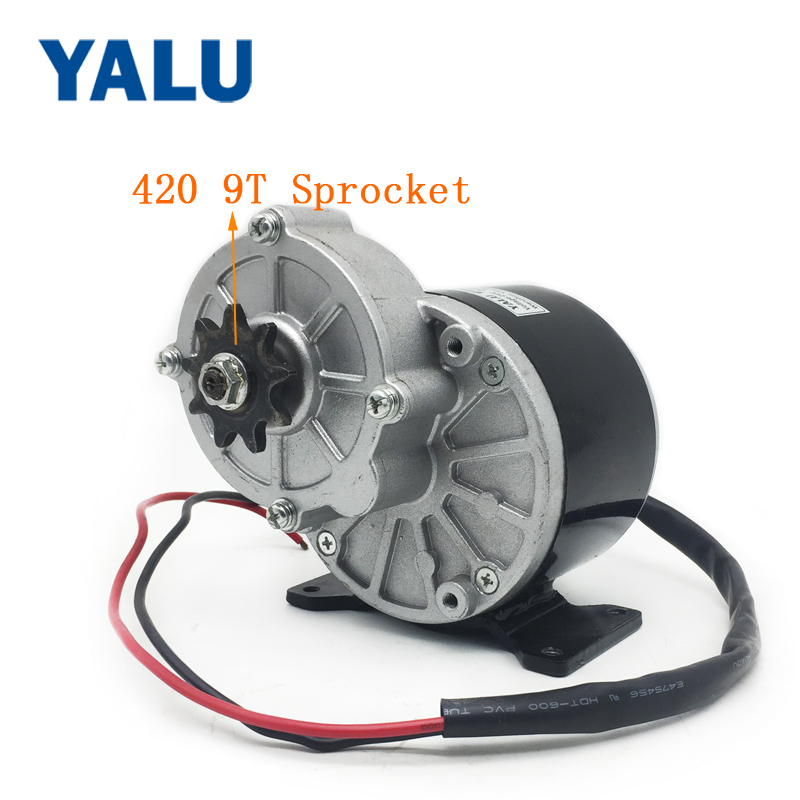 MY1016Z 12V-36V 250W 350W Electric motorcycle ATV E-scooter Geared Brush DC Motor with 420 Sprocket for Ebike Go-Kart Vehicle