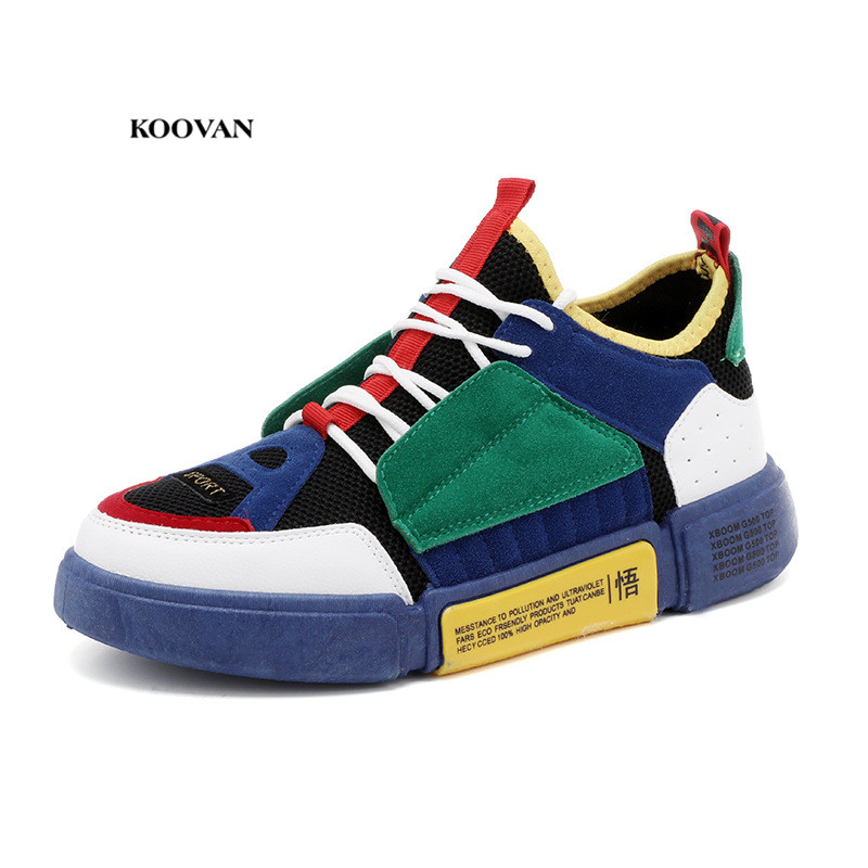 Koovan Men's Fashion Sneakers  2018 New Shoes Street Style Ins Popular Sports Net Shoes Cool Stitching Pu Leather Boys