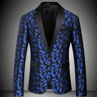 High Quality Fashion Royal Blue Mens Suit Coat Floral Printing Business Blazers Male Wedding Suit Formal