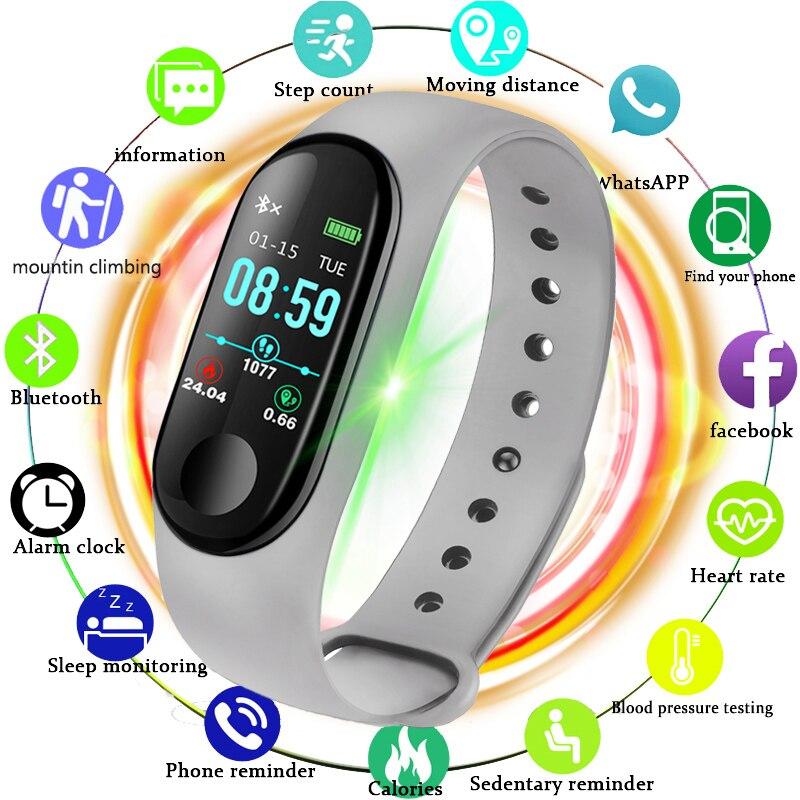 LIGE Novo Ip67 Pulseira LED Ecrã a Cores de Natação À Prova D' Água Inteligente Calorie Heart Rate Monitor de Pressão Arterial de Pulso Inteligente Relogio