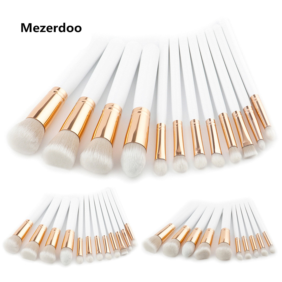 Premium 10/12pcs Makeup Brushes Cosmetic Kit High End White Handle Powder Foundation Scatter High Light Make Up Eye Blusher Tool bob cosmetic makeup powder w puff mirror ivory white 02