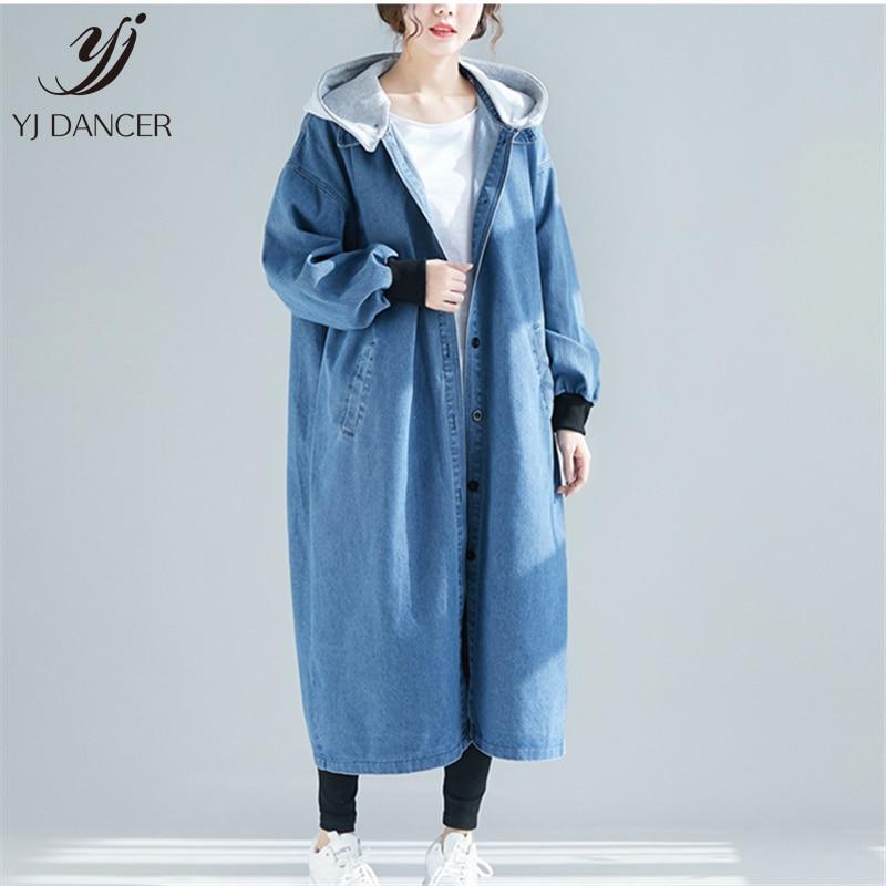 Long Section Large Size Denim Windbreaker Jacket Female 2019 Spring Fashion New Loose Hooded Long Sleeve Windbreaker Coat H00518