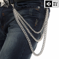 "25"" Men Metal Key Jean Wallet Belt Chain Three Layer Waist Heavy Duty Punk Hook Silver Trousers Pant Chain KB19"