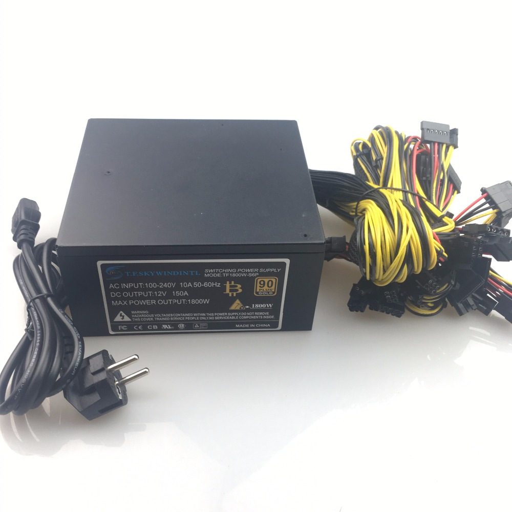 T.F.SKYWINDINTL Mining Machine Power Supply for ETH/BTC 110V NEW Silent PC 1600W RX480 RX470 RX570 RX580 12v 1600w Power Supply eu plug miners power supply fan set 1600w 12v 128a output including sata port 4p 6p 8p 24p connectors use for rx470 rx480 rx570