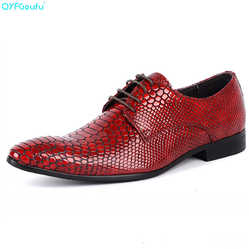 New Luxury Designer Men Wedding Shoes Genuine Leather Pointed Toe Snake Pattern Black Red Business Oxford Dress Shoes in Formal Shoes from Shoes