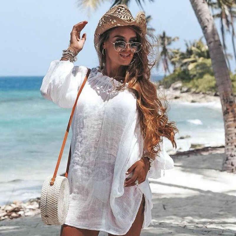 Più il Formato Delle Donne Beachwear Costumi Da Bagno Della Nappa del Bikini Cover Up Estate Caftano Sarong Spiaggia Bianca Mini Vestito di Stile Coreano 2019 di Estate