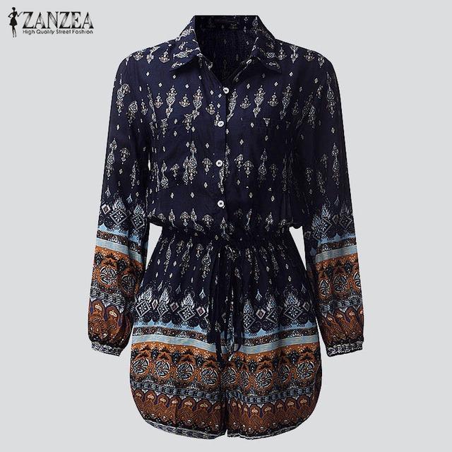 Zanzea sexy monos mamelucos mujeres buzos 2017 señoras de la manera impresión floral de manga larga elástico de la cintura casual boho trajes