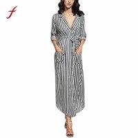Vestito delle donne 2017 disegni Del Vestito Delle Donne Abiti casual abiti Stripe Con Cintura Profondo Scollo A V Manica Lunga Top Maxi vestiti