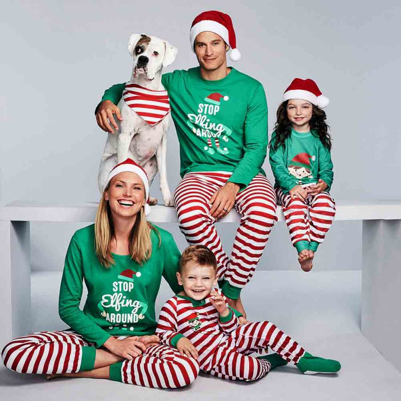 2018 Neweast Christmas Family Clothing Set Striped Letter Printing pyjamas women Father Kid Baby O-nenck Sleepwear