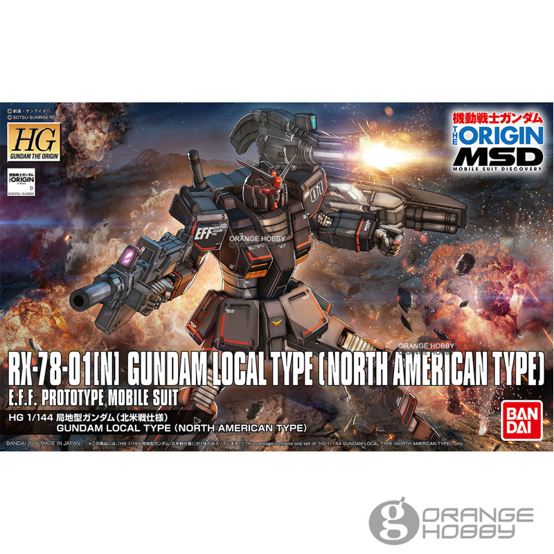 OHS Bandai HG Origin 017 1/144 RX78-01N Gundam Local Type North American Type Mobile Suit Assembly Model Kits oh ohs bandai mg 179 1 100 sengoku astray gundam mobile suit assembly model kits oh