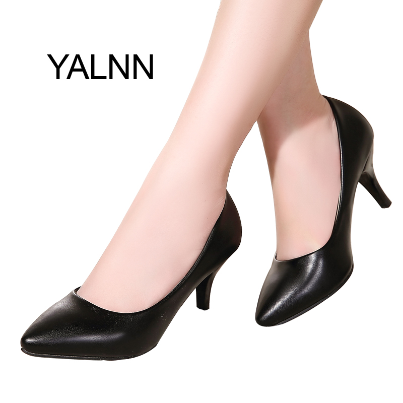 YALNN Fashion New High Heels Pumps Black Women Shoes Pump Girls Leather 7cm Thick Heel Black Shoes for Office Lady basic pump