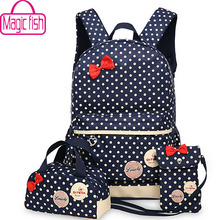 Magic fish Girl School Bags For Teenagers backpack set women shoulder travel bags 3 Pcs/Set rucksack mochila knapsack LM3582mf
