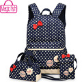 Magic fish conjunto da menina sacos de escola para adolescentes mochila mulheres mochila mochila mochila sacos de viagem ombro 3 pçs/set lm3582mf