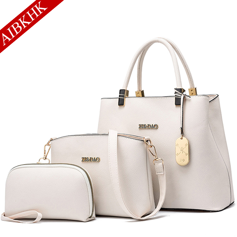 Three piece Luxury Handbags Women Bags Designer Women Handbag Crossbody Bag for Women 2019 Sac a Main Ladies Hand Bags in Top Handle Bags from Luggage Bags