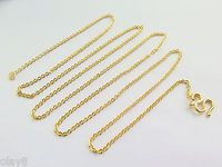 New Fine Pure 999 24K Yellow Gold Chain Women Solid O Link Necklace 20inch