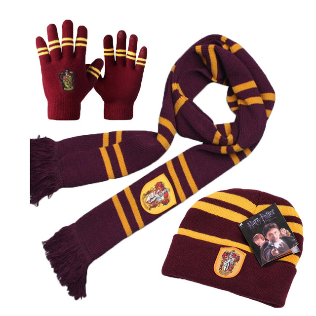 Хэрри Поттер Костюм Косплей серия шарф шарфы сенсорные перчатки шляпа Гриффиндор/Слизерин/хаффлпуф/Ravenclaw детский подарок - Цвет: Gryffindor