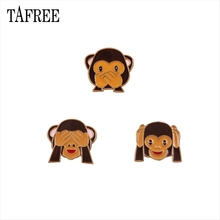 TAFREE Lovely Expression Of Monkey Lapel Pins Facepalm,Cover Mouth,Raise Hands Colorful Enamel Brooches Carton Badge Jewelry